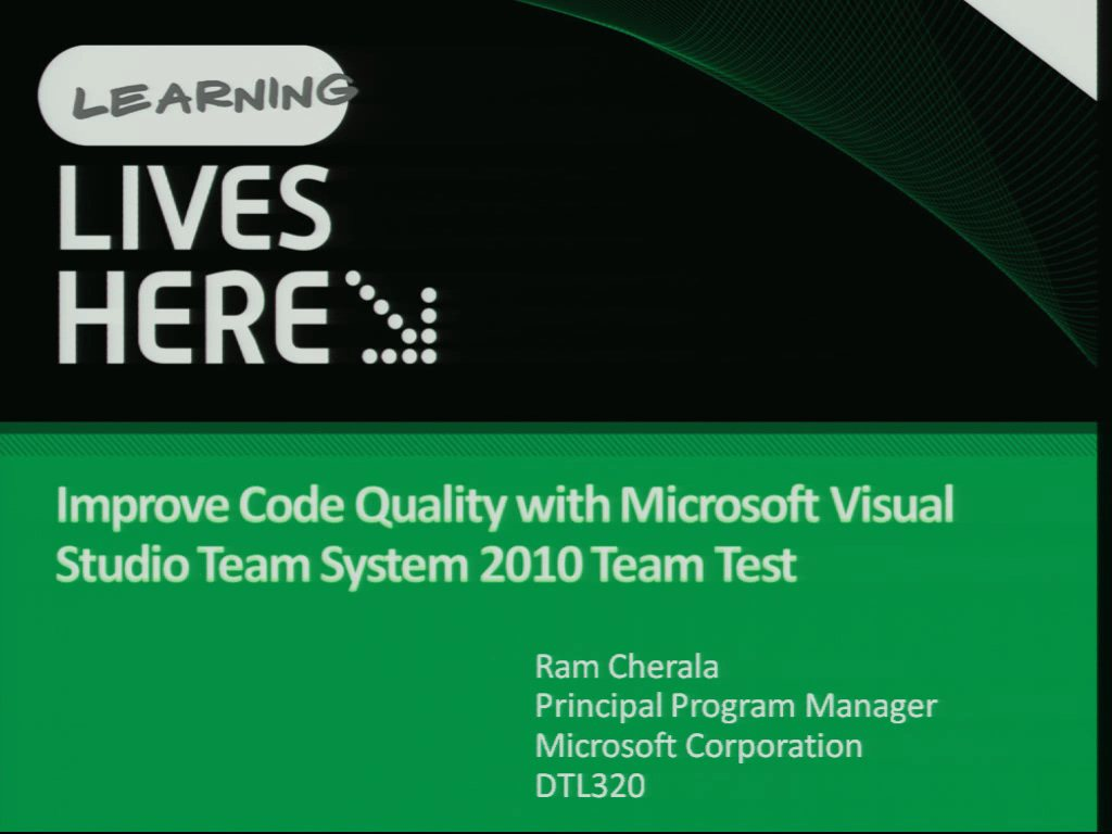 Improve Code Quality with Microsoft Visual Studio Team System 2010 Team Test