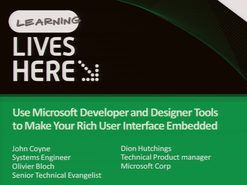 Use Microsoft Developer and Designer Tools to Make Your Rich User Interface Embedded