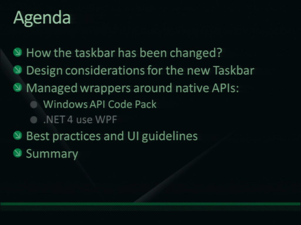 Windows 7 Taskbar: New User Interface for Your Application