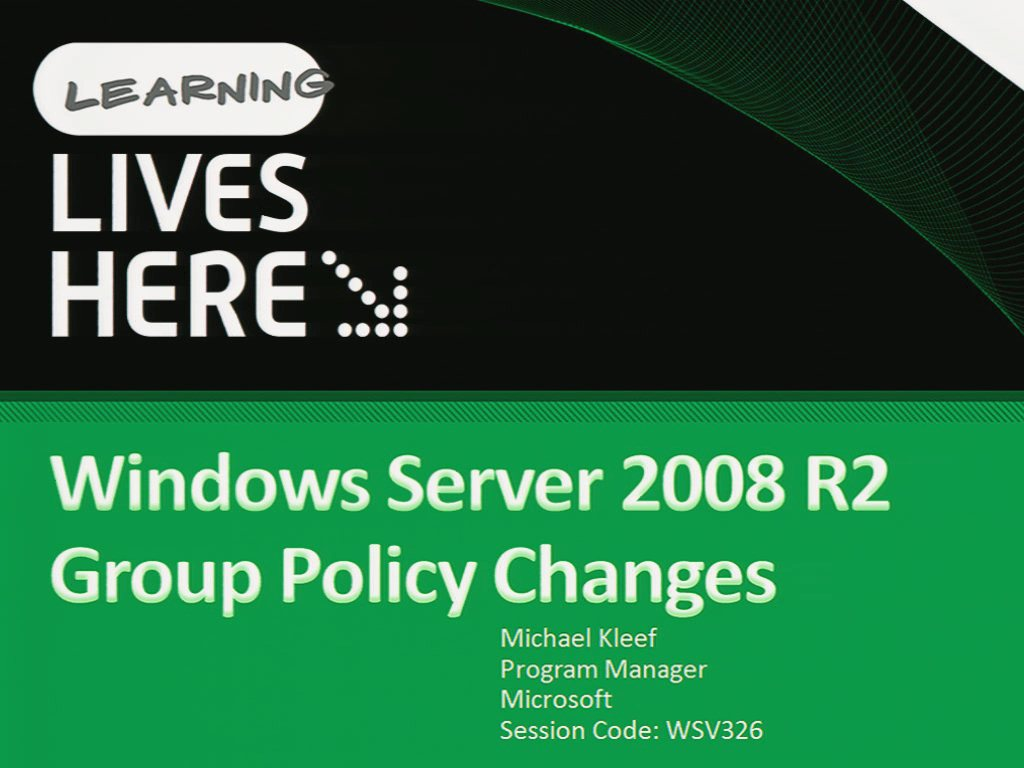 Windows Server 2008 R2 Group Policy Changes