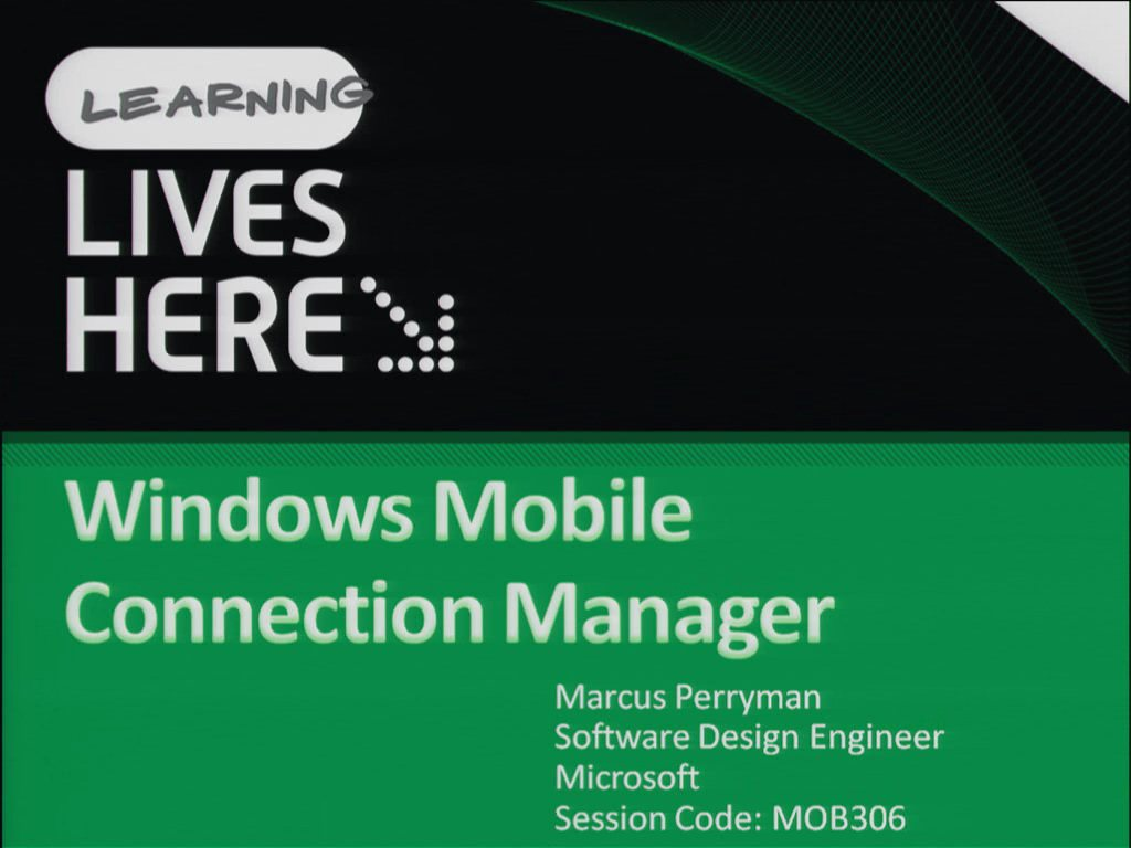 Windows Mobile Connection Manager
