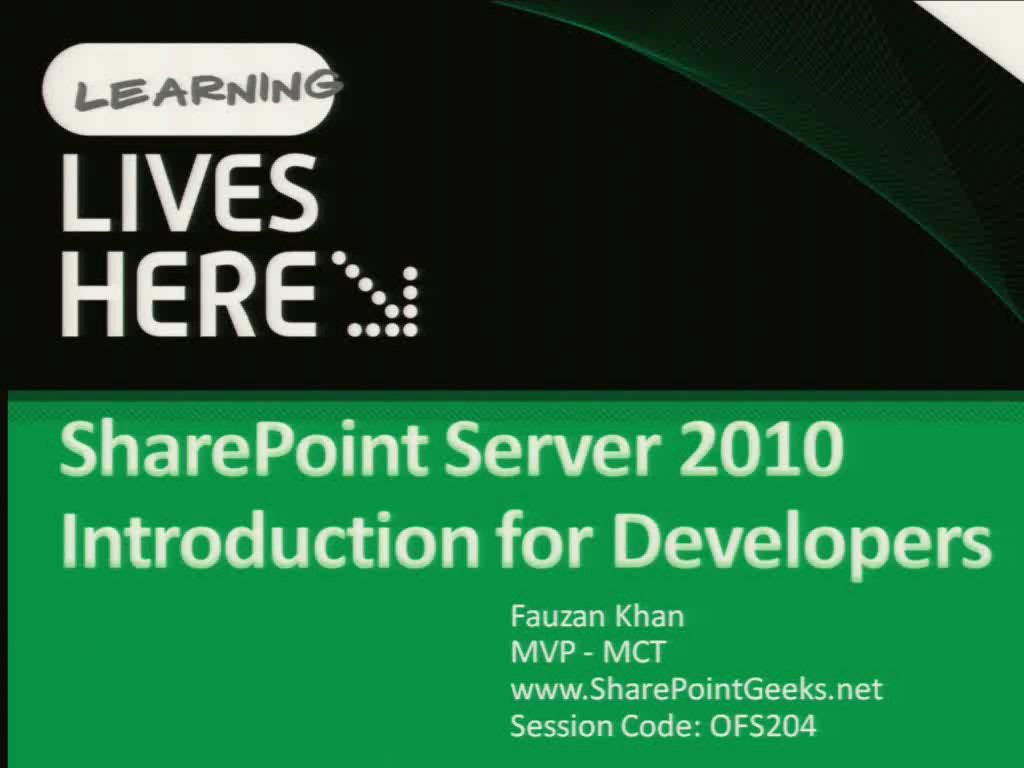 Microsoft SharePoint Server 2010 Introduction for Developers