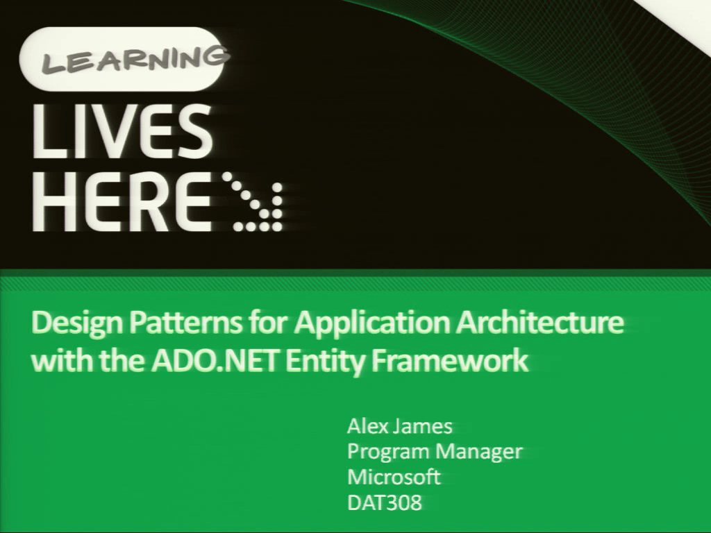 Design Patterns for Application Architecture with the ADO.NET Entity Framework