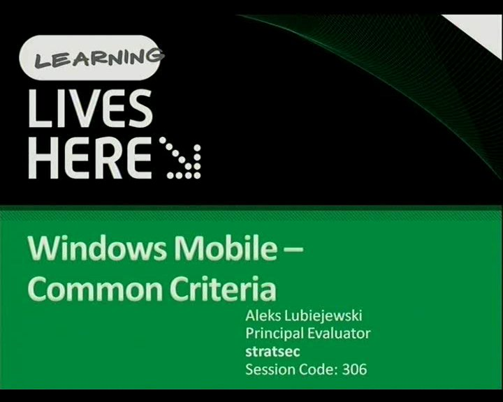 Windows Mobile for Government - Common Criteria certification