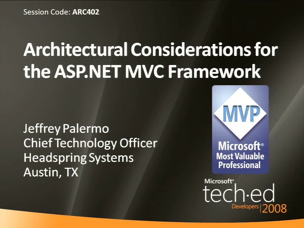Architectural Considerations for the ASP.NET MVC Framework