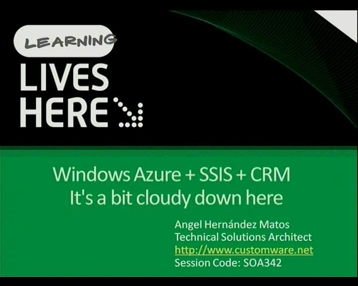 Windows Azure + SSIS + CRM = It's a bit cloudy down here