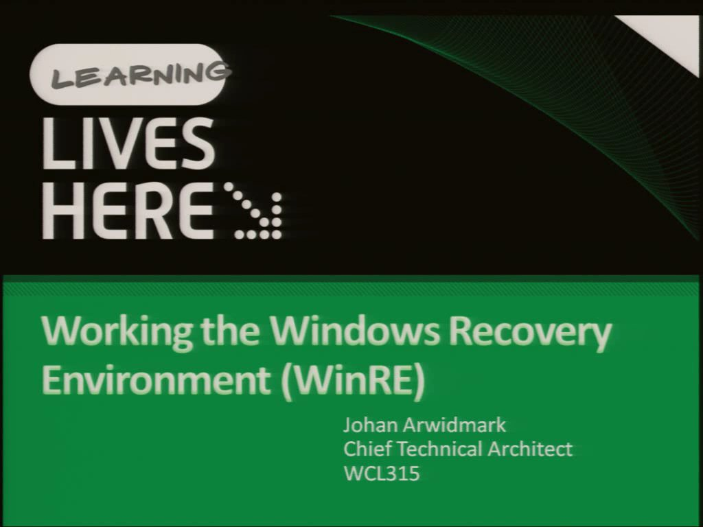 Working the Windows Recovery Environment (WinRE)