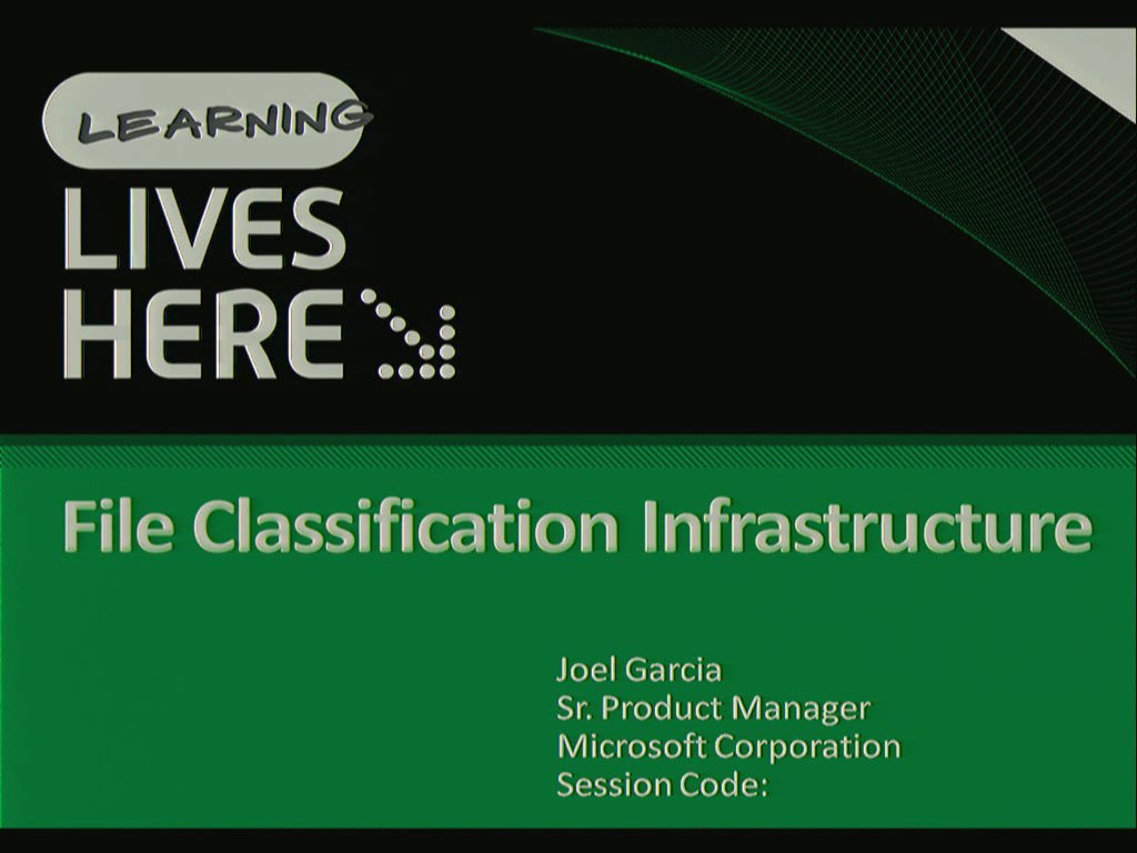 Windows Server 2008 R2 File Classification Infrastructure:  Managing your file data more effectively.