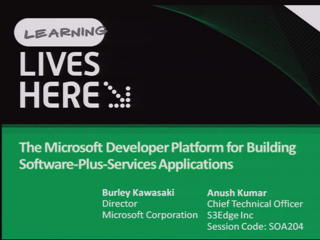 The Microsoft Developer Platform for Building Software-Plus-Services Applications