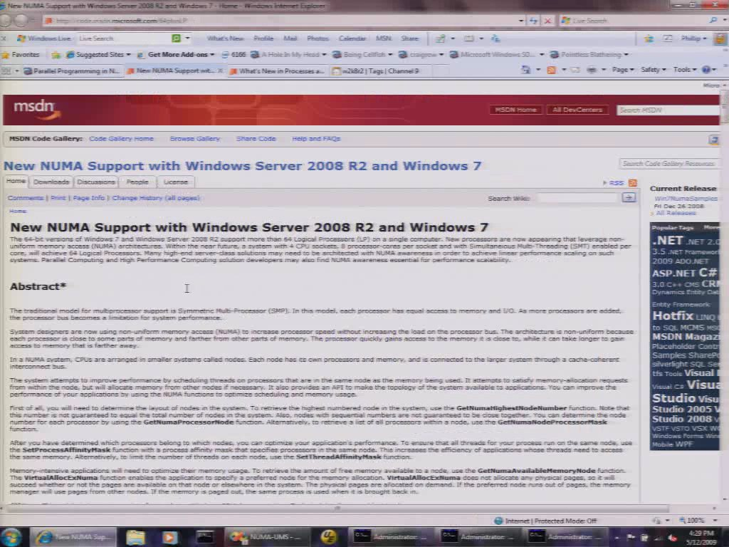New NUMA Support with Windows Server 2008 R2 and Windows 7