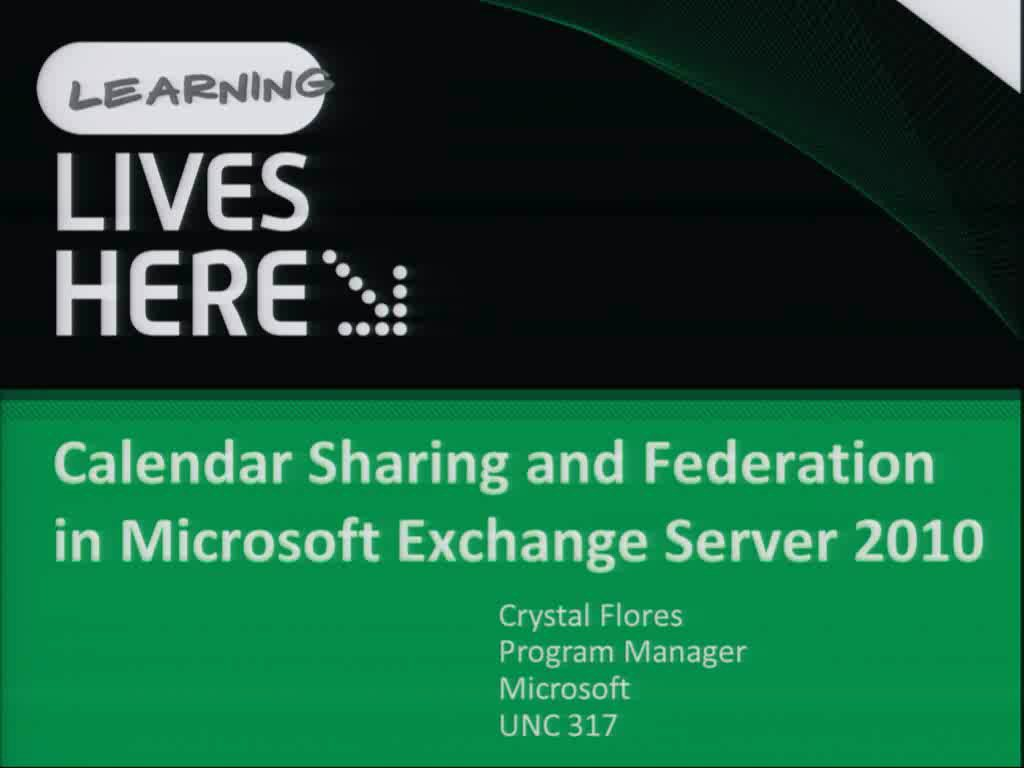 Calendar Sharing and Federation in Microsoft Exchange Server 2010