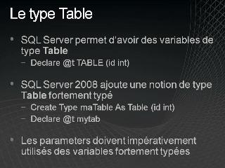 Table-Valued Parameters – Première partie