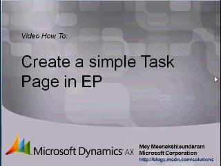 Microsoft Dynamics AX 2009 – Creating simple Task Page in Enterprise Portal