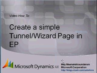 Microsoft Dynamics AX 2009 – Creating simple Tunnel(Wizard) Page in Enterprise Portal