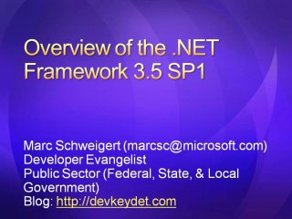US Public Sector Developer Dinner for Partners - .NET Framework 3.5 SP1