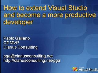 How to extend Visual Studio and become a more productive developer