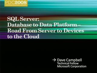 SQL Server: Database to Data Platform - Road from Server to Devices to the Cloud