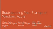 Bootstrapping your Startup with Windows Azure