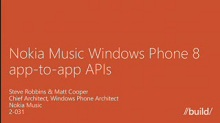 Nokia Music Windows Phone 8 App-to-App APIs