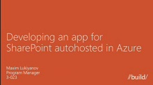 Developing an app for SharePoint autohosted in Windows Azure Web Sites with an autoprovisioned Windows Azure SQL Database