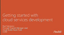 Getting Started with Cloud Services Development
