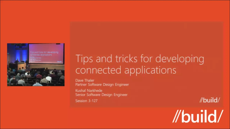Tips and tricks for developing connected applications