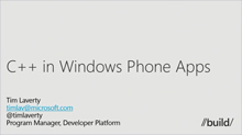 Windows Phone: Using Native (C++) Code in Your Apps