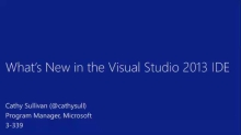 What's New in the Visual Studio 2013 IDE