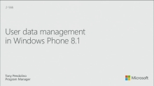 User Data Management in Windows Phone