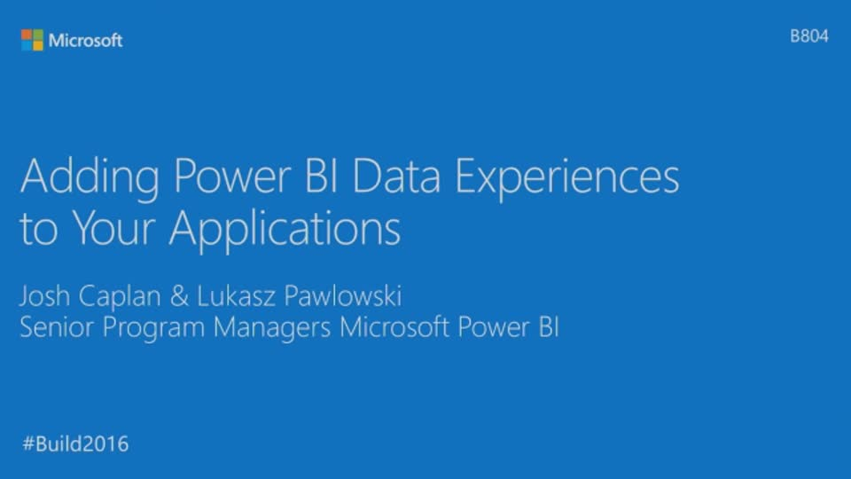 Adding Power BI Data Experiences to Your Applications