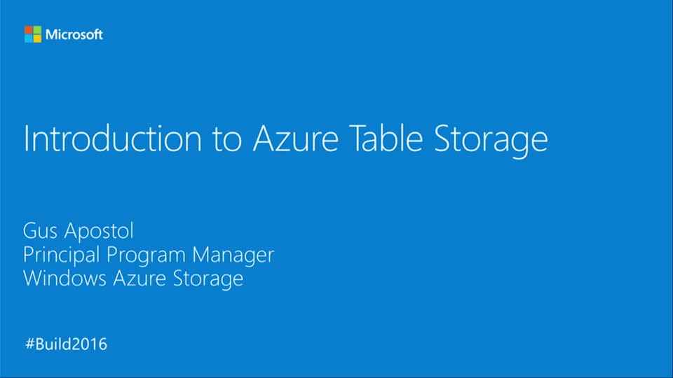 Introduction to Azure Table Storage