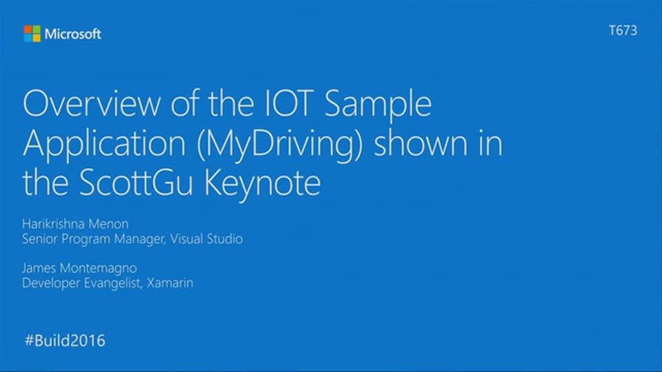 Overview of the MyDriving An Azure IOT and Mobile Sample application, as shown in the ScottGu keynote