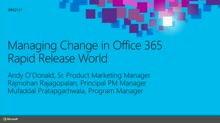 Managing Change in an Office 365 Rapid Release World