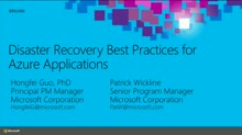 Best Practices for Disaster Recovery for Azure Applications