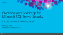 Overview and Roadmap for Microsoft SQL Server Security