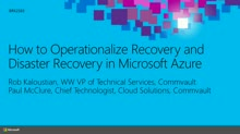 CommVault: How to Operationalize Recovery and Disaster Recovery in Microsoft Azure
