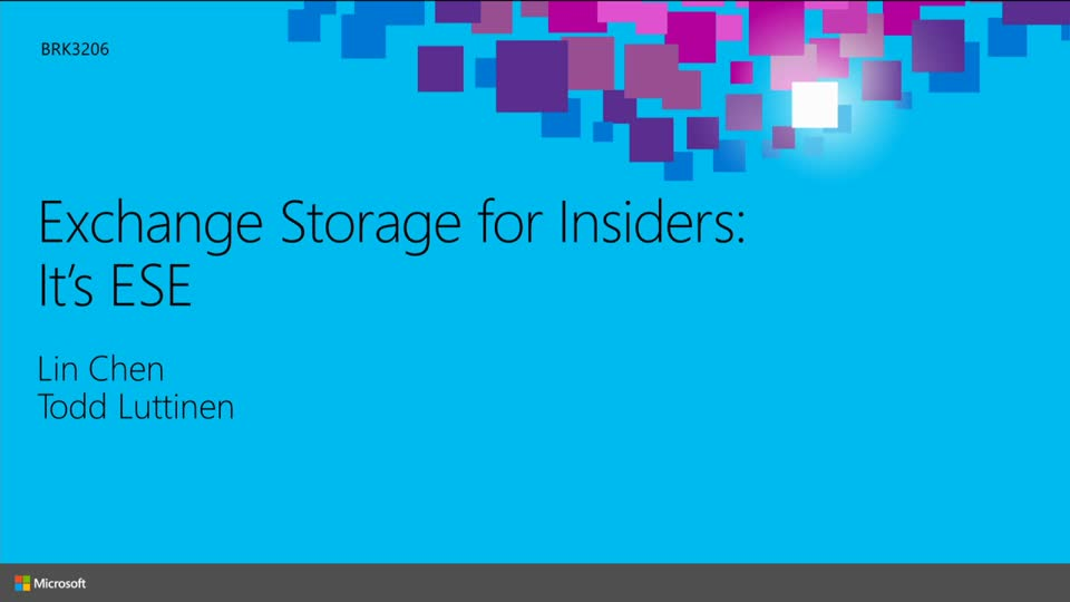 Exchange Storage for Insiders: It's ESE