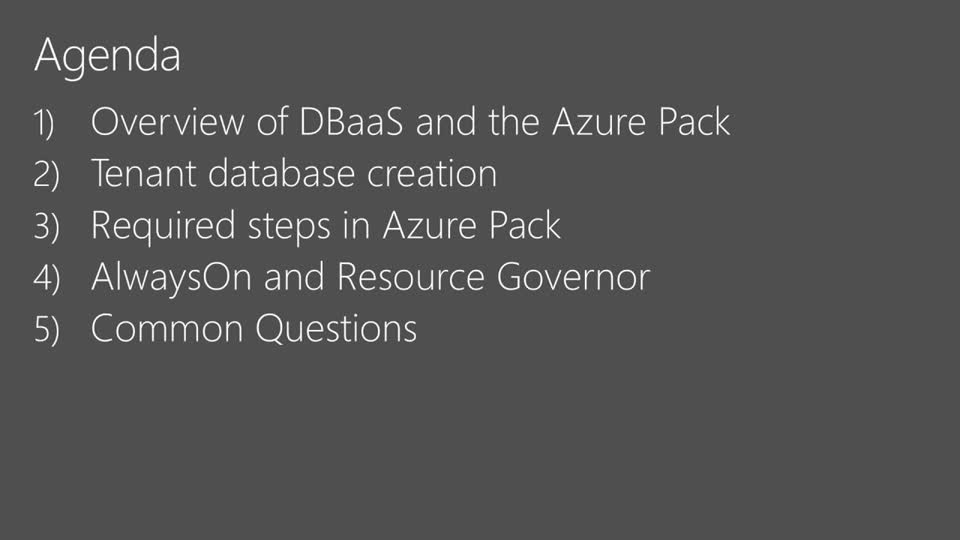 Provisioning SQL Database-as-a-Service in the Azure Pack