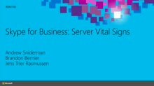 Skype for Business: Server Vital Signs