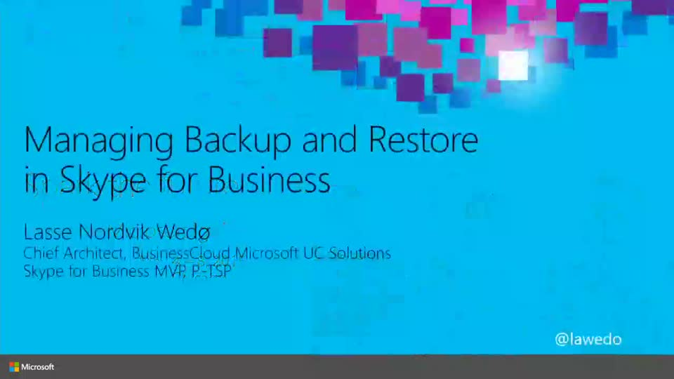 Managing Backup and Restore in Skype for Business