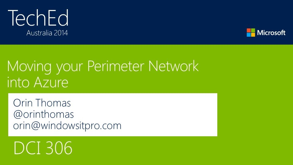 Moving your Perimeter Network into Azure