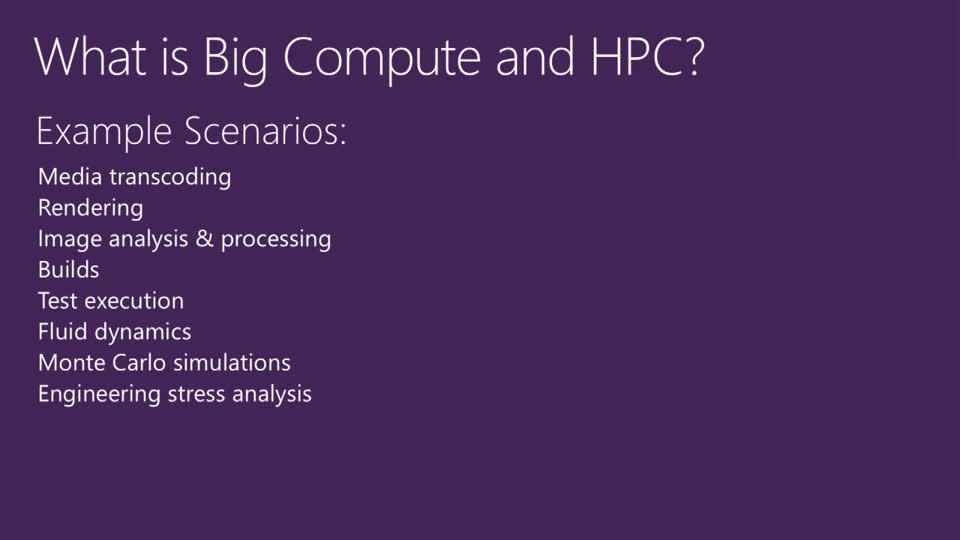 Big Compute in the Cloud with High Performance Computing on Azure