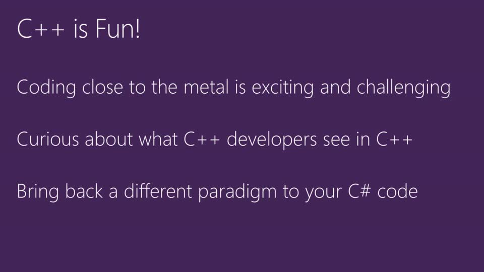 C++ Scenarios for C# Developers