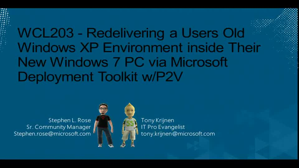 Redelivering a Users Old Windows XP Environment inside Their New Windows 7 PC via Microsoft Deployment Toolkit w/P2V